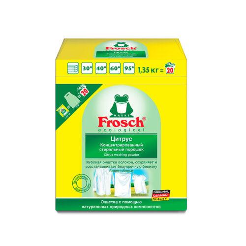 Концентрированный отбеливающий стиральный порошок Frosch Цитрус 1,35 кг